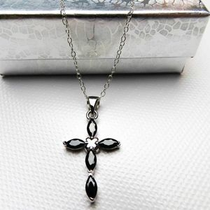 Jewelry - NEW- Sterling Silver Black Cubic Zirconia Necklace